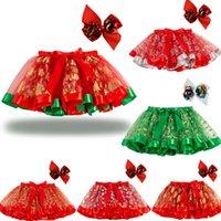 Christmas Baby Girl Tutu Dress Skirt With Sequin Xmas Tree Elk Hairpin Set Snowflake Star Print Bow Skirts Kids Dance Dresses