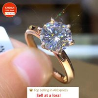 Cluster Rings YANHUI 18K Gold Ring With 18KRGP Stamp Solitaire 2.0ct Zirconia Diamond Wedding Band Silver 925 For Women