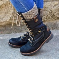 Boots Women Mid-Calf 2021 Winter Warm Punk Side Zipper Outdoor Non-Slip Knitted Patchwork Ladies Booties Mujer