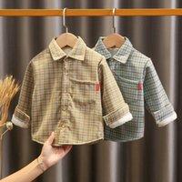 소년 겨울 봉제 셔츠 2020 새로운 어린이 따뜻한 최고의 아기의 가을과 겨울 어린이 격자 무늬 셔츠