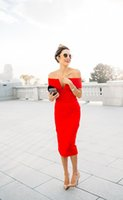 Sexy Back Split Red Sheath Formal Evening Dresses Off The Shoulder short Tea Length Satin Prom Dress Women Special Occasion Gowns Pageant Wear Sheer Neck