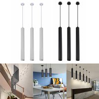 30cm 40cm 50cm Tube Cylindrical LED Pendant Lamps Silver Ring Modern Spotlights for Kitchen Island Dining Room Shop Bar Counter Decoration Pipe lamp Downlight