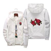 Rose Windbreaker homens jaqueta feminina moda branco e preto rosas outwear casaco