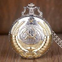 Vintage ussr Sowjetische Abzeichen Sichel Hammer Taschenuhr Halskette Bronze Anhänger Kette Uhr Mode Frauen Männer mit Geschenkbox
