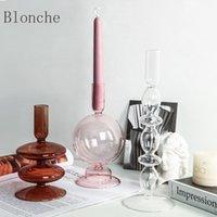 Tenedor de velas jarrones de vidrio claro florero de flores Boda Centros de boda Decoración del hogar Tabla Candelabro
