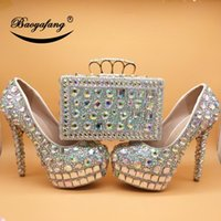 Love Moments Women High Wedding Shoes With Matching Bags Fashion Ladies Platform And Woman Femme AB Bling Crystal Dress