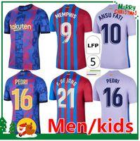 21 22 kun Aguero Memphis Soccer Jersey Pedri Ansu Fati Camiseta de Futbol 2021 2022 Barcelona F.De Jong Home Away Camisa de Futebol Kit + Homens