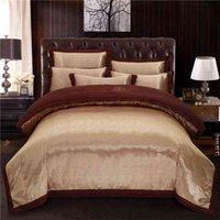 Luxury Coffee Satin Bedding sets Duvet cover bedsheets Cotton Sheet Queen King size Bed set parure lit ropa de cama