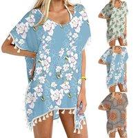 Летняя женская отделка Kaftan Chiffon Tassels Print Купальники Пляж Свободные кружевные крючком вязание крючком бикини на вершине мода Praia #gh