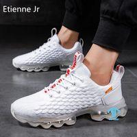 Gerilim Erkekler Bahar Bıçak Koşu Ayakkabıları Kalın Tabanlı Büyük Boy Tuval Rahat Spor Spor Salonu Açık Zorlu Işık Şok-Kaymaz Sneakers