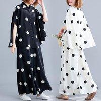 Women's Tracksuits Plus Size Women Sets Summer Autumn Tops Shirt Loose Casual Big Wide Leg Pants Two Piece Set Polka Dot Print Suit