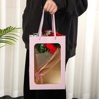 Pcs lot Simple Portable Window Opening Gift BoxTransparent Flower Bag Packing Handbag Rosette Wrap