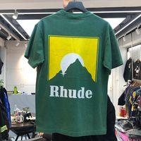 2021 Yeni Rhude T Gömlek Erkekler Kadınlar Yıkanmış Old Streetwear T-Shirt İlkbahar Yaz Tarzı Yüksek Kaliteli Rhude Top Tees