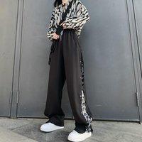 Women's Pants & Capris Spliced Leopard Wide Leg Cargo Ins Casual Loose Hip Hop Long Streetwear Women Spring Fall Sweatpants Hipster Korean