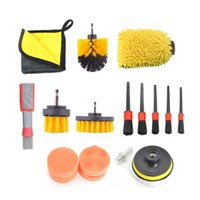 Car Sponge Cleaning Kit Scrubber Drill Brush Detailing Set Air Conditioner Vents Towel Washing Gloves Polisher Adapter