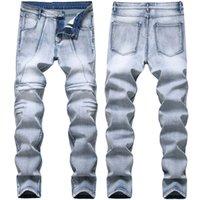 Męskie dżinsy Mężczyzna 2021 Wiosna Jesień Dżsień Bawełniane spodnie Plisowane Slim Fit Pencil Pant Light Blue Spodnie Zgrane dla mężczyzn 2023