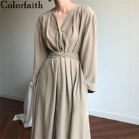 Colorfaith Women Spring Summer Dresses Lace Up Casual Buttons Fashionable V-neck Vintage Oversize Long Dress DR1150 210623