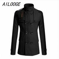 Ailooge erkek moda ince uzun trençkot rüzgarlık yaka düğme ceket dış giyim U5M6 #