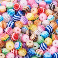 15 cores resina solta contas 8mm arco-íris candy cores listra contas redondas para jóias fazendo braceletes de diy colar