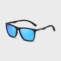 Kdeam OEM nueva marca Raykiller Etiqueta Privada Trendy Unisex Rectángulo azul Sunglass Hombres Aleación de ojos Vidrio polarizado con estuche
