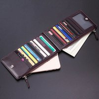 Men Wallet Large Capacity Double Zipper Business Card Holder Bifold Money Purse Male Cash Coin Wallet Thin Portable Cards Wallets DH1090