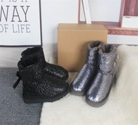 women Boots Genuine Leather Australia Ankle Winter Boot For Shiny Shoes warm ski Fashion new Bailey Bowknot Sneakers