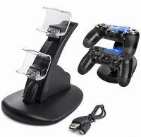 LED PS4 المزدوج شاحن قفص الاتهام جبل USB شحن حامل لبلاي ستيشن 4 الألعاب اللاسلكية تحكم مع مربع التجزئة