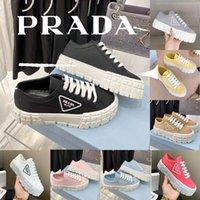 Prada Designer-Plattform Damen Dicke Sohlen Leinwand Schuhe Frauen Vielseitig klein Weiß Heulen Muffin Net rotes Freizeit Keks im Freien Größe 36-40