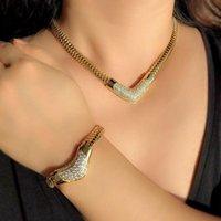 Küpe Kolye Moda Dubai Takı Setleri Kadınlar Için Lüks Kalp Bilezik Altın Renk Yılan Kemik Zinciri Gelin Düğün Kız Set