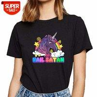 Tops T Shirt Women Hail Satanan Unicorn i Rainbow Pentagram Funny White Custom Female Tshirt Party # Oz14