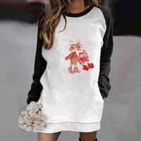 Casual Dresses Christmas Deer Printed Hoodie Dress Woman Contrast Color Long Sleeve Loose Pocket Sweatshirt Oversized Party