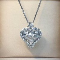 Heart Lovers Lab Diamond Pendant Real 925 Sterling Silver Party Wedding Pendants Chain Necklace For Women Bridal Charm JC962