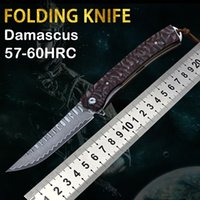 Selling new Damascus steel folding knife high hardness self-defense outdoor rescue survival camping hunting tactics Edc tools