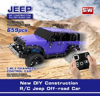 2.4ghz 6 Channels USB Charging alloy Building Block DIY Construction Remote Control Jeeps Off-road truck Toys assembly RC Car