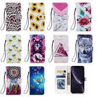 Flip Leather Wallet Cases for iphone 12 pro max mini 11 XS XR 7 8 PLUS Samsung A51 A71 A21S sunflower leopard print flower marble Wolf ID Card Holder strap cover