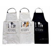 Women Men Apron Commercial Restaurant Home Bib Spun Poly Cotton Kitchen Aprons EWD10042