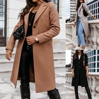 Women's Wool & Blends Women Autumn Winter Long Sleeve Lapel Collar Casual Coat Knee-length Jacket Overcoat Warm Keeping Plus Size S-3XL