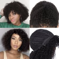 Menschliches Haar Afro Kinky Courly Perücken 150% Dichte 12 Zoll 1b Capless Perücke Perruques de Cheveux Statains RQY4328