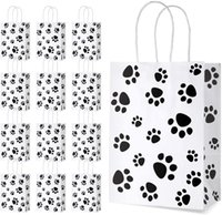 Puppy Dog Paw Print Treat Bags with Paper Twist Handles for Pet Party Favor