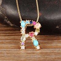Nidin Mode Bunte Anfangsbuchstaben Halskette Multicolor Rainbow Gold Anhänger Halskette Für Frauen Mädchen Hochzeit Geburtstagsgeschenke