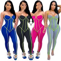 Women's Jumpsuits & Rompers Zoctuo Solid Patchwork Sexy For Women Spaghetti Strap Playsuit 2021 Fashion Backless Club Jumpsuit