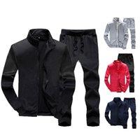 Men's Tracksuits Men Solid Color Sportswear Autumn Jacket + Pant Tracksuit Male Sweatshirt Casual 2 Piece Set 2021 Jackets