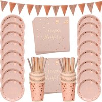 Disposable Dinnerware 78PCS Rose Gold Happy Birthday Printing Tableware Set Paper Plate Cup Banner Napkins Party Decor Supplies