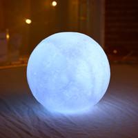 10cm Moon Light 3D Imprimer Imprimé Coloré Changer Moon Globe Lampe Luna Moon Night Light USB Touch Switch Home Chambre à coucher Décor Dropshipping