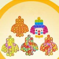 Tiktok Rainbow Pop Push Bubble Fidget Party Sensory Toy Tie Dye Joker Clown Popper Autism Stress Reliver Squeeze Finger Fun Ball Puzzle Game