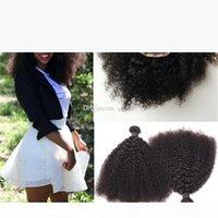 몽골어 9A 아프리카 킨키 곱슬 인간의 머리카락으로짜리 인간의 머리카락은 흑인 여성을위한 헤어 익스텐션으로 4pcs 꼬챙이 곱슬 레이스 폐쇄