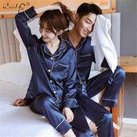 Neue Paar Nachtwäsche Silk Satin Pyjamas Set Lange und kurze Tastenanzeige Pyjamas Anzug Pijama Frauen Männer Loungewear Plus Größe PJ Set 210330
