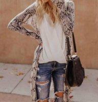 Women Long Sleeve Cardigan Leopard Kimono Shawl Loose Tops Blouse Coat Jacket ZHL6245