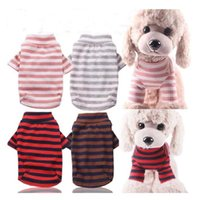 Dog Apparel Pet Clothes T-shirt All Seasons Cat Striped Elastic Bottoming Shirt Clothing For Small Medium