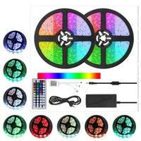 LED Strip Set 5050 RGB com RF IR Bluetooth Music Controller Luz flexível para fundo de TV Lâmpada de lâmpada LEDs Fita IP65